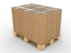 Many Boxes on Shipping Pallet, Isolated.